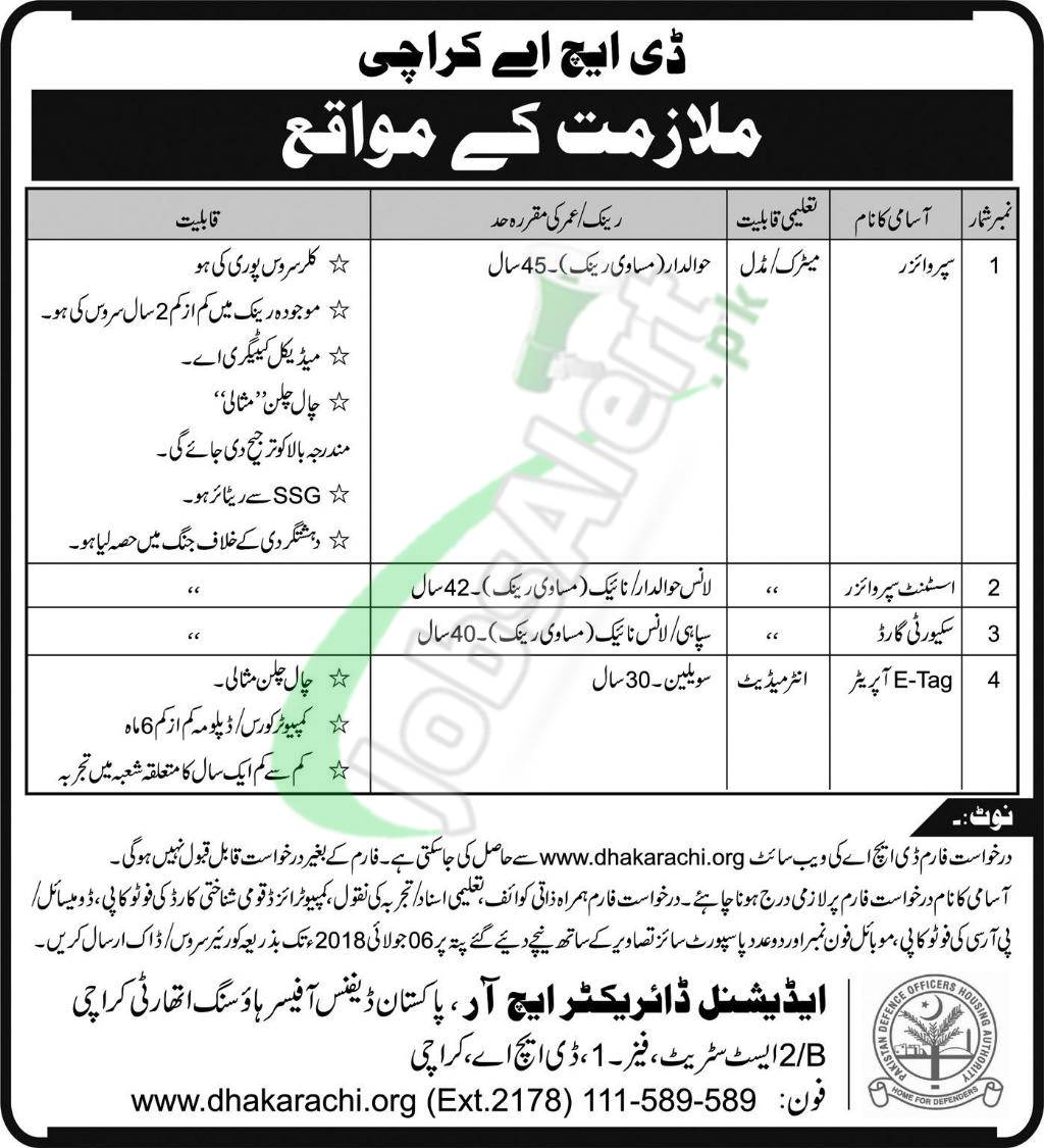 DHA Karachi Jobs Application Form Download 2018 Defence Housing ...