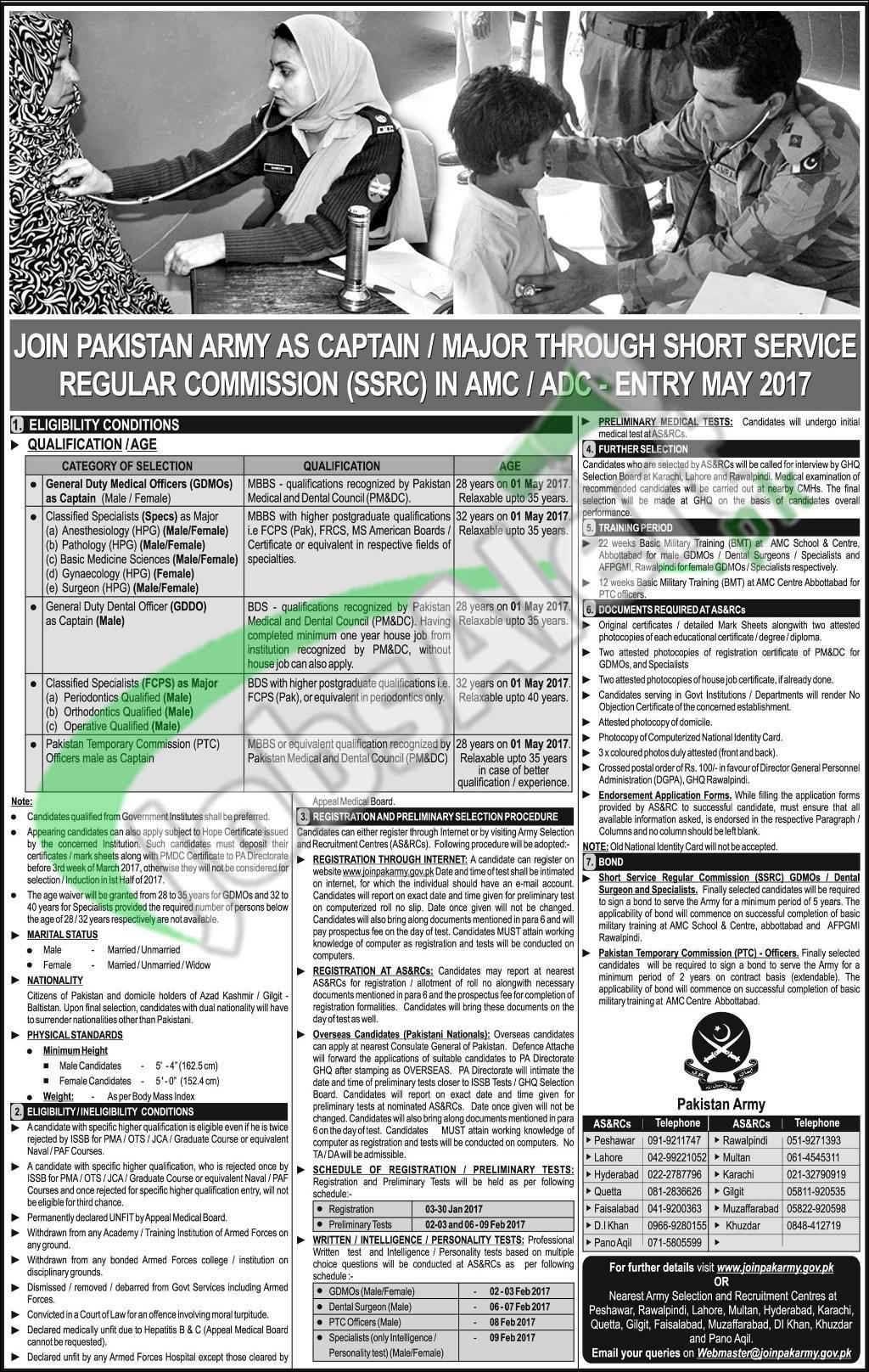 joinpakarmy gov pk as captain 2017 ssrc online