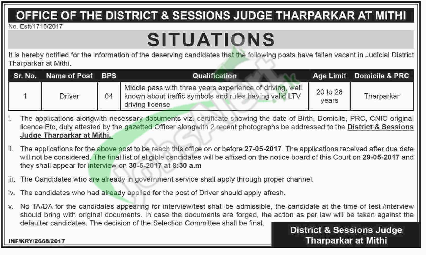 District and Session Court Tharparkar Jobs