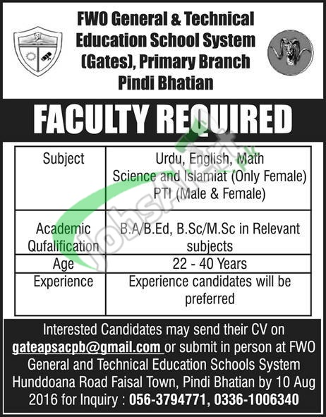 FWO General & Technical Education School System Pindi Bhatian Jobs