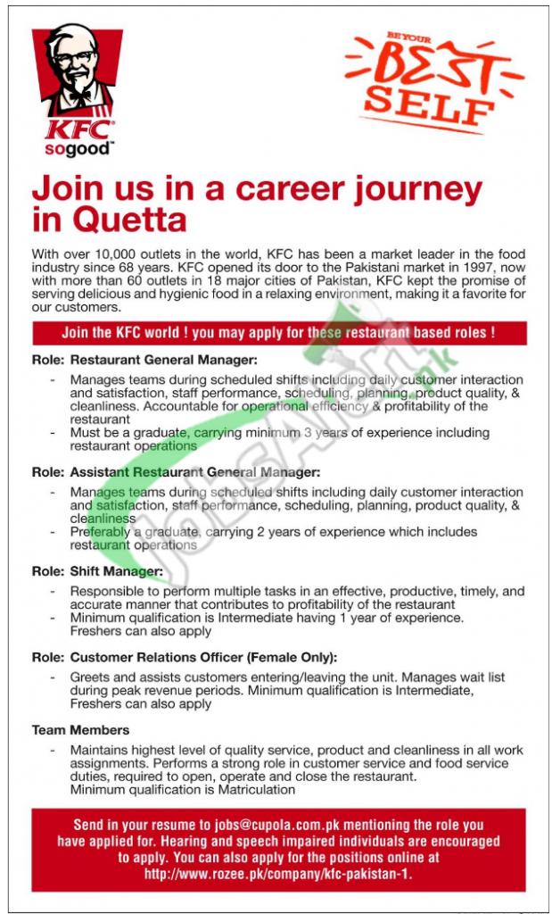 Kfc Jobs In Pakistan 2016 Apply Online Latest Advertisement Jobs