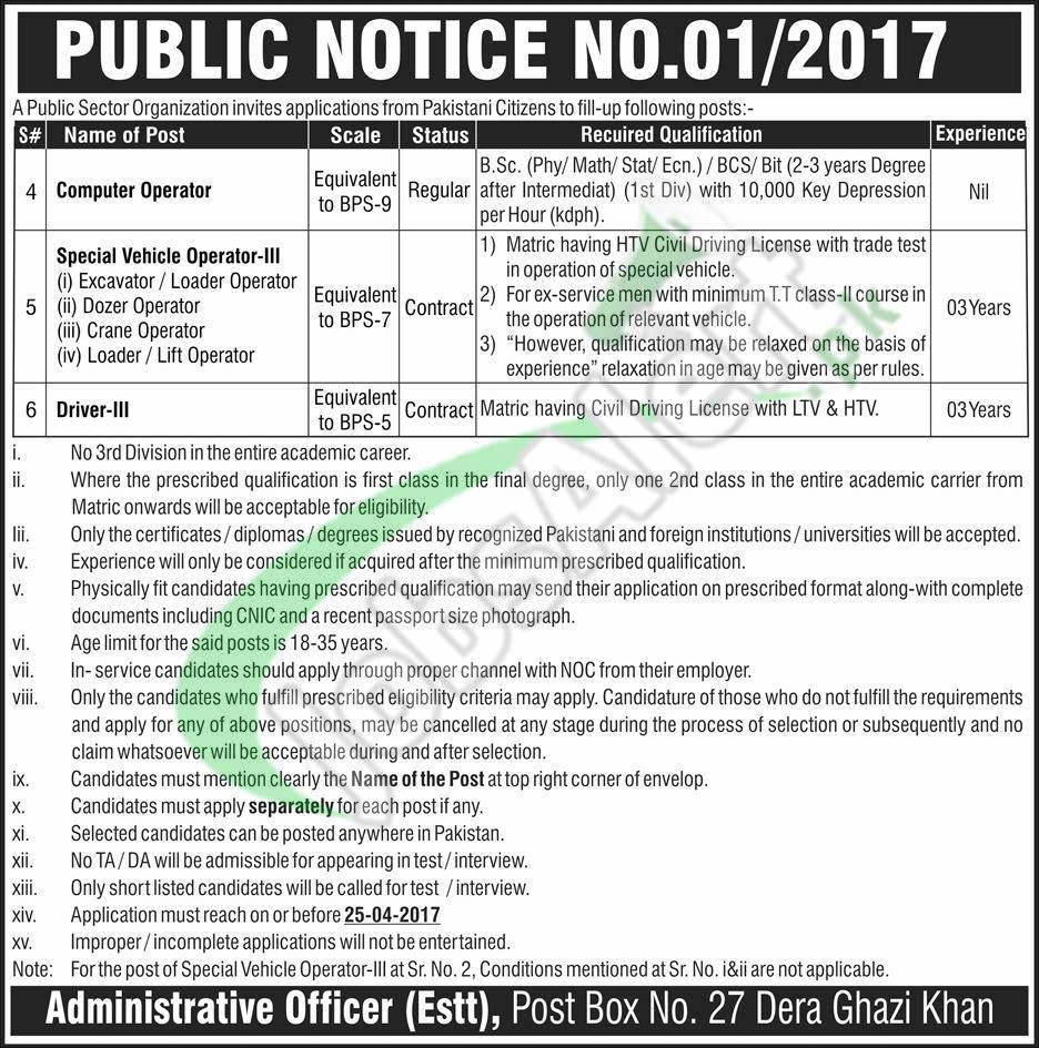 PO Box 27 DG Khan Jobs