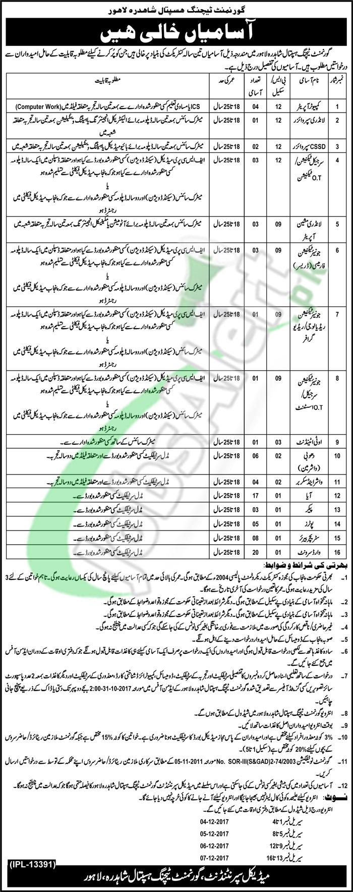 Government Teaching Hospital Shahdara Lahore Jobs