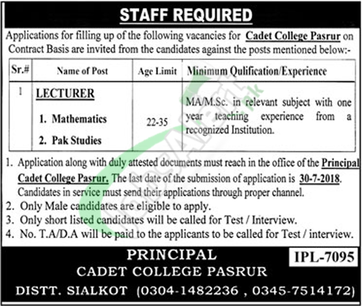 Cadet College Pasrur Jobs