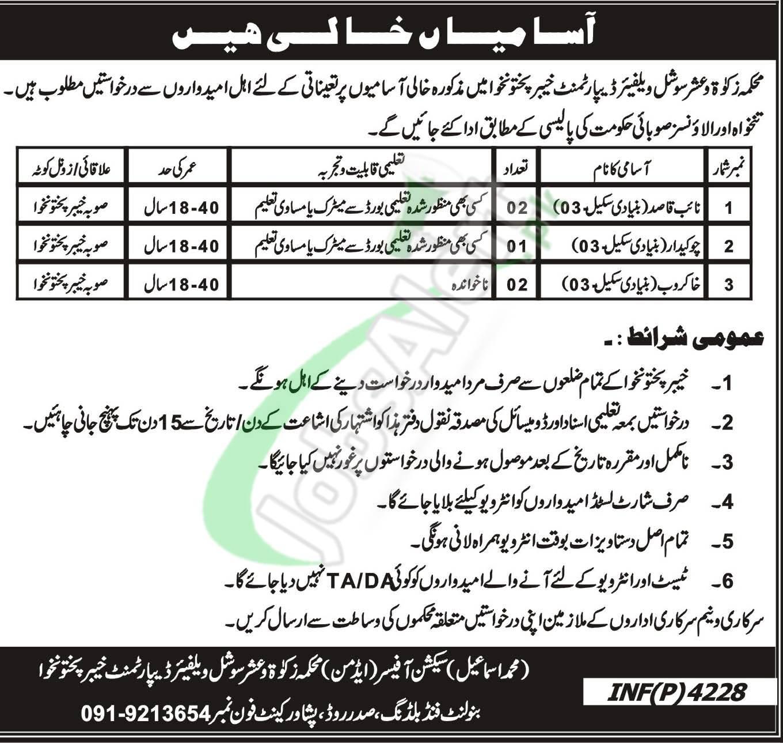 Zakat and Ushr Department KPK Jobs