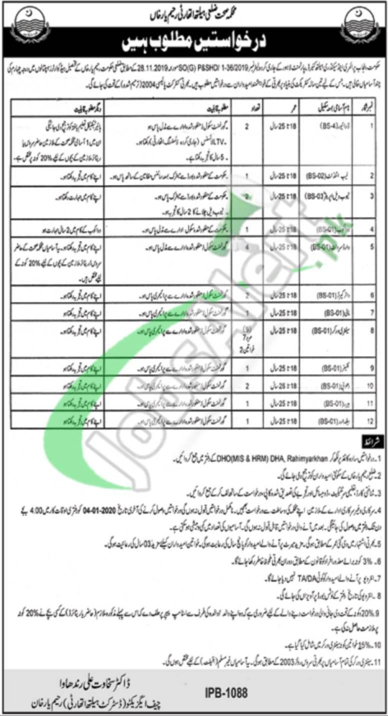 District Health Authority Rahim Yar Khan Jobs