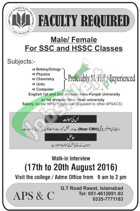 Jobs in Army Public School Islamabad