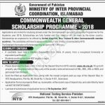 Commonwealth Scholarship Pakistan 2018