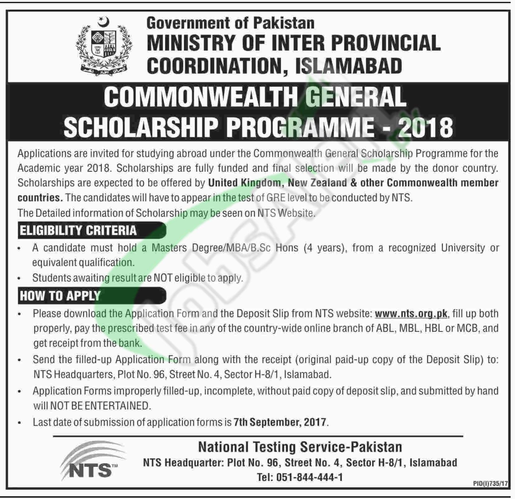 Commonwealth Scholarship Pakistan 2018