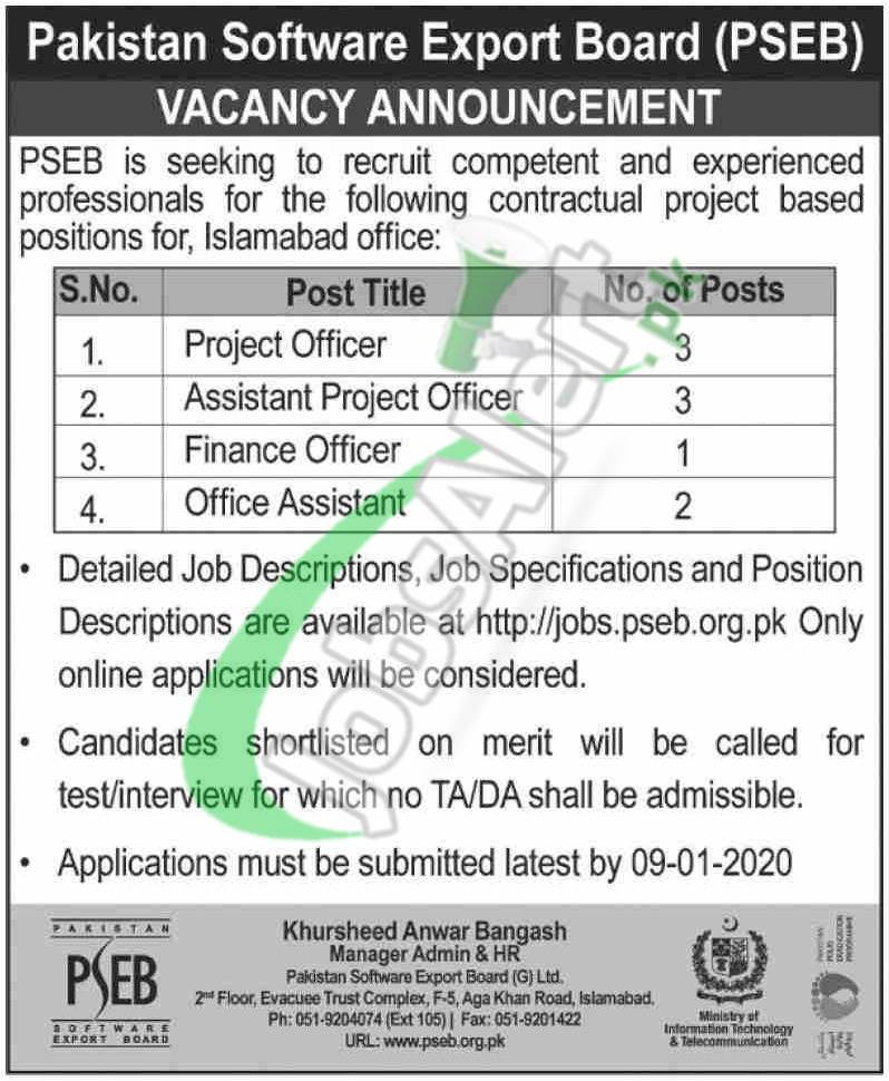 Pakistan Software Export Board PSEB Vacancy Announcement