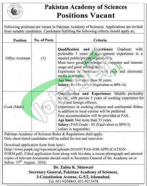 Pakistan Academy of Sciences Jobs