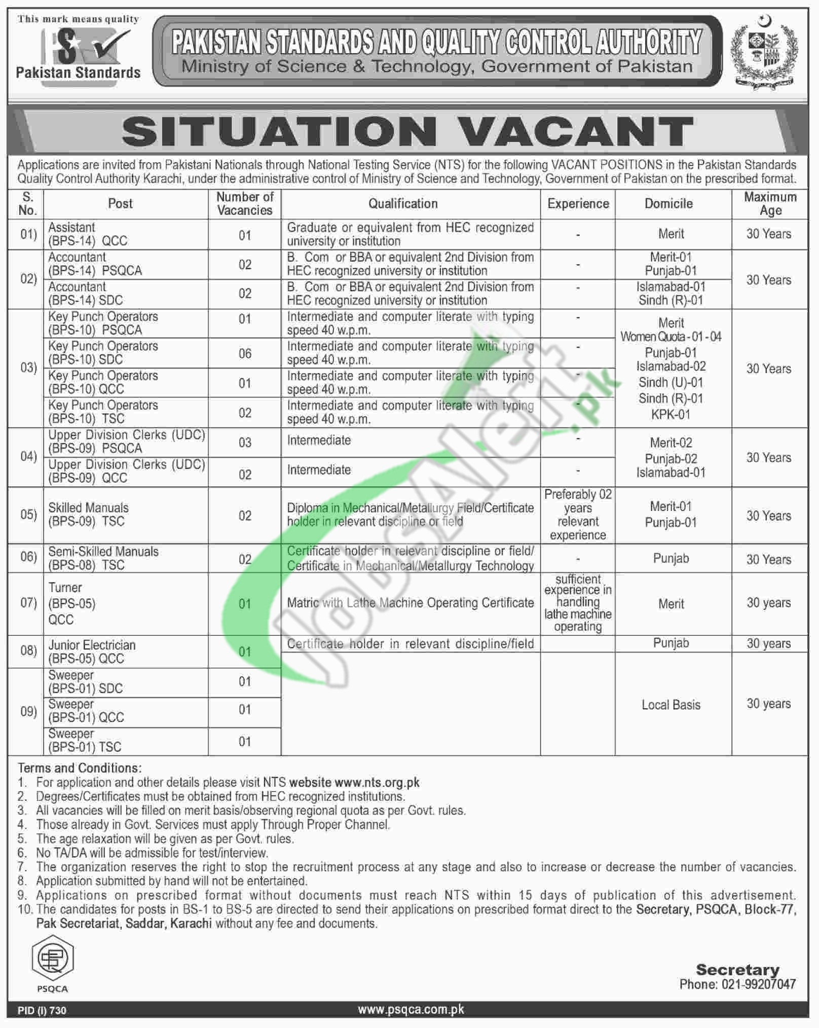 Pakistan Standard Quality Control Authority Jobs
