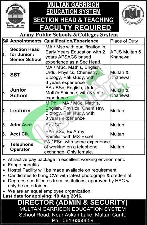 Multan Garrison Education System Jobs