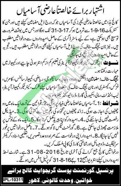 Govt Postgraduate College Wahdat Colony Lahore Jobs