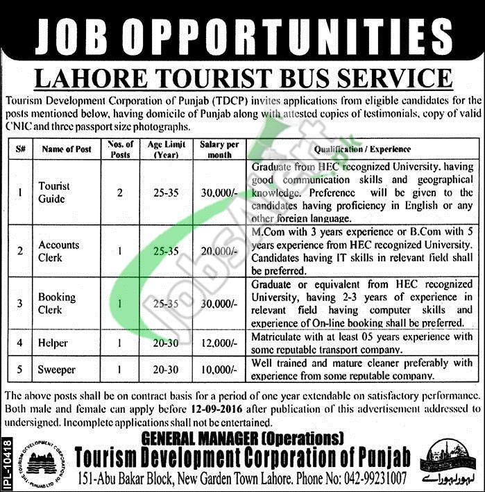 Lahore Tourist Bus Service Jobs