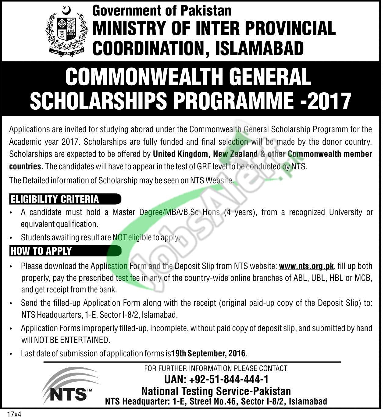 Commonwealth Scholarship 2017