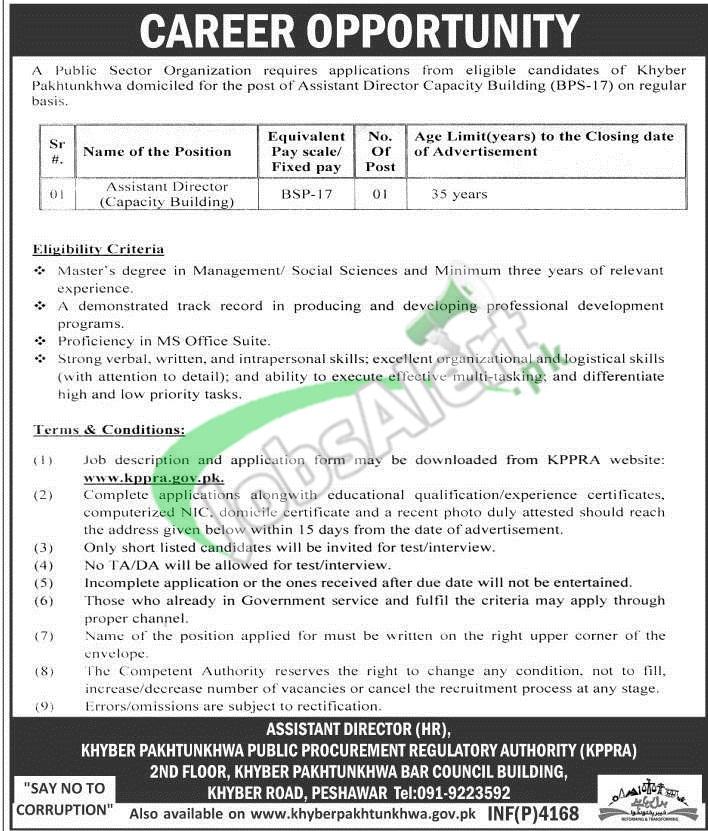 KPK Public Procurement Regulatory Authority Jobs