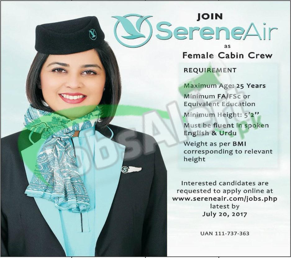 Serene Air Female Cabin Crew Jobs 2017 Apply Online Www