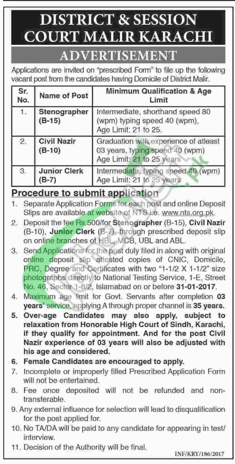 District and Session Court Malir Karachi Jobs