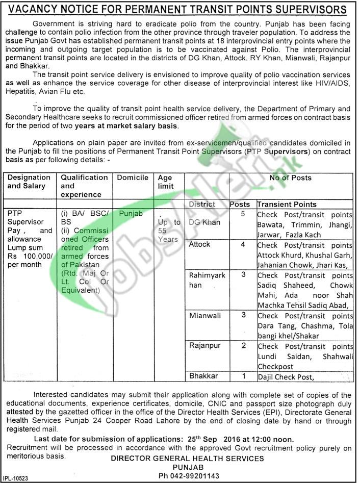 Directorate General Health Services Punjab Jobs