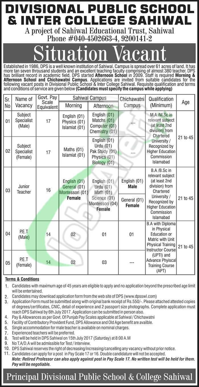Dps Sahiwal Jobs 2018 Application Form Download Dpsswl