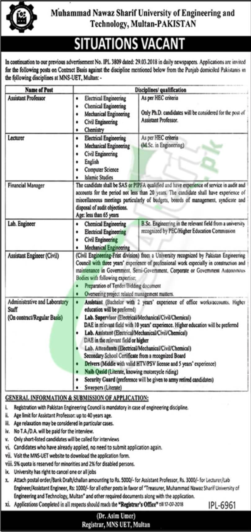 Muhammad Nawaz Sharif University of Engineering & Technology Multan Jobs 2018