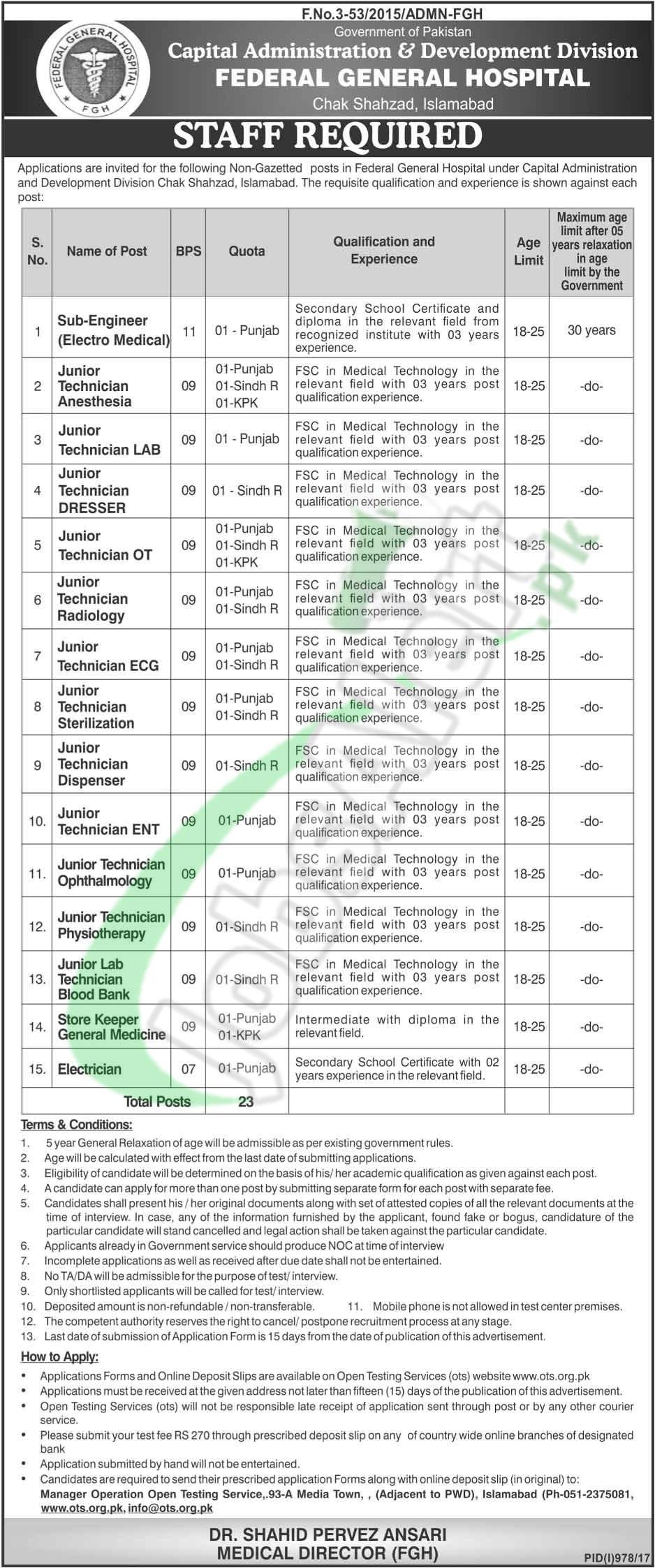 Federal General Hospital Chak Shahzad Islamabad Jobs
