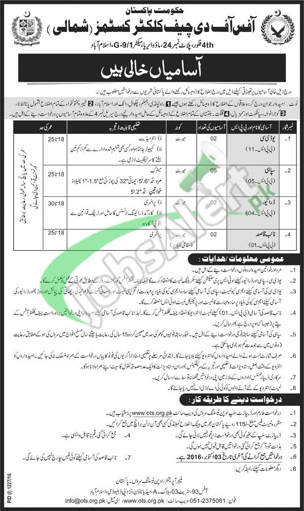 Chief Collector Customs Islamabad Jobs