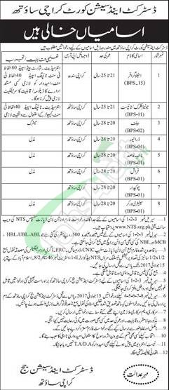 District and Session Court Karachi South Jobs