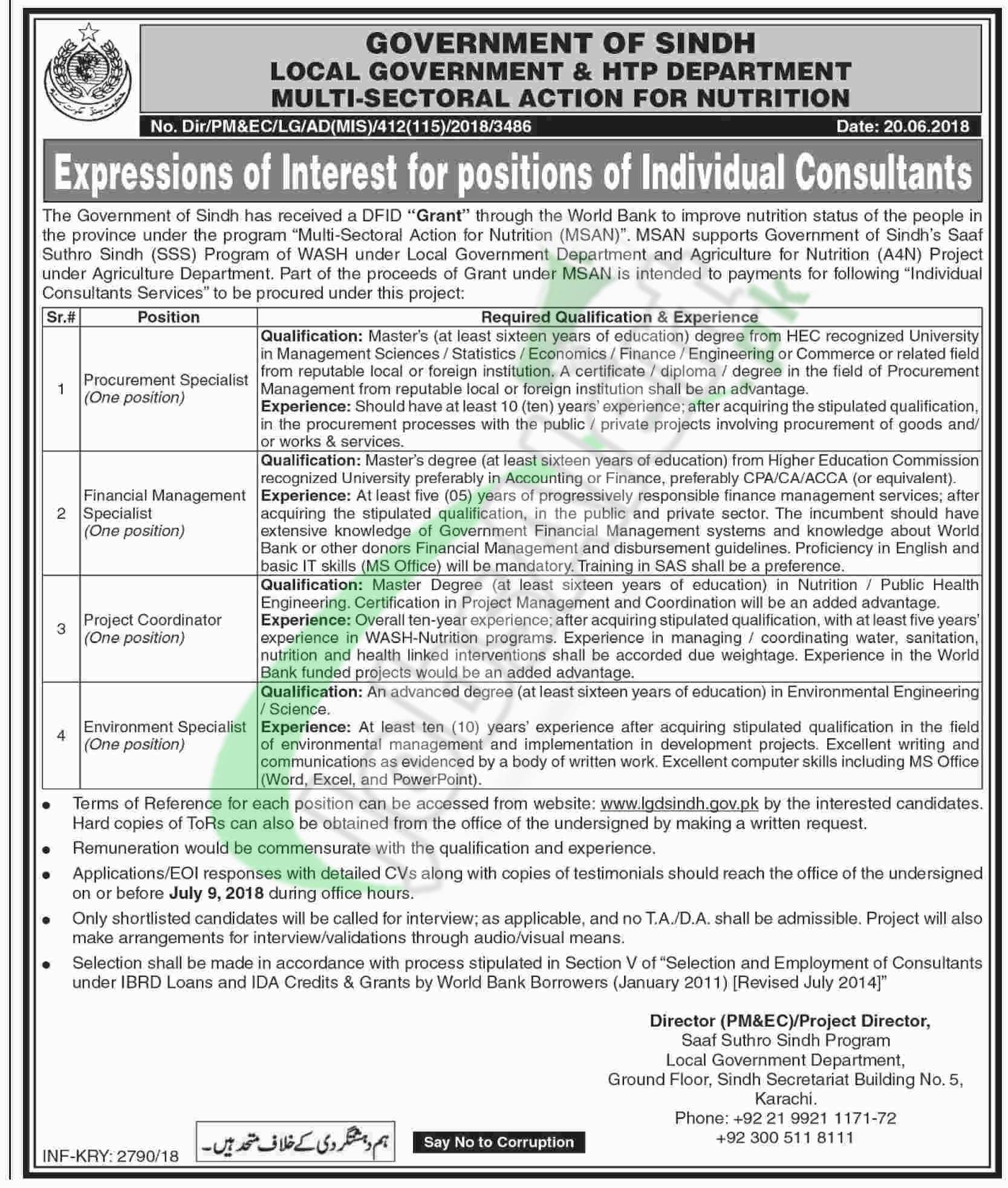 Sindh Local Government Jobs 2018 Latest Advertisement   www.lgdsindh.gov.pk