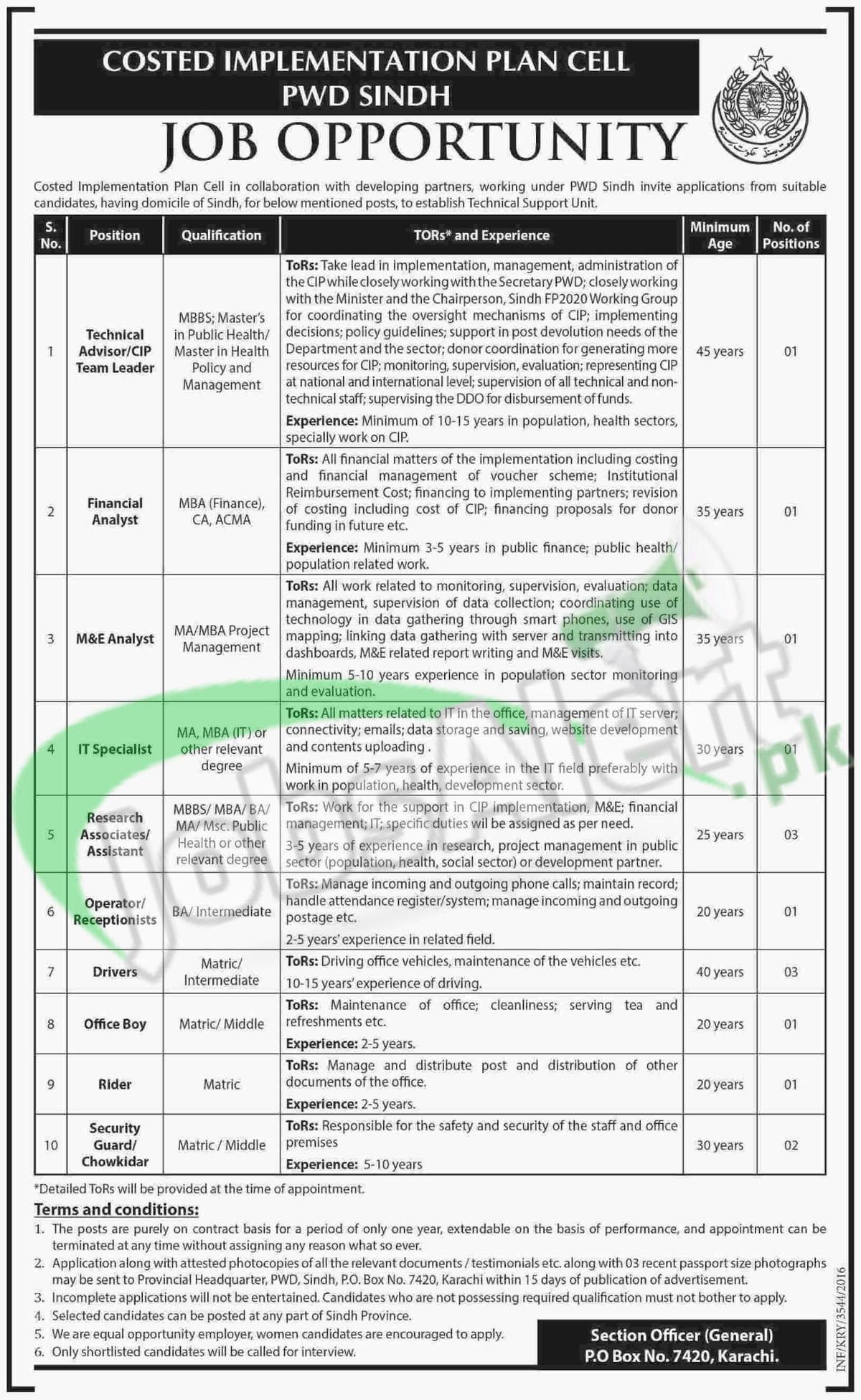 Coastal Implementation Plant Cell Unit PWD Sindh