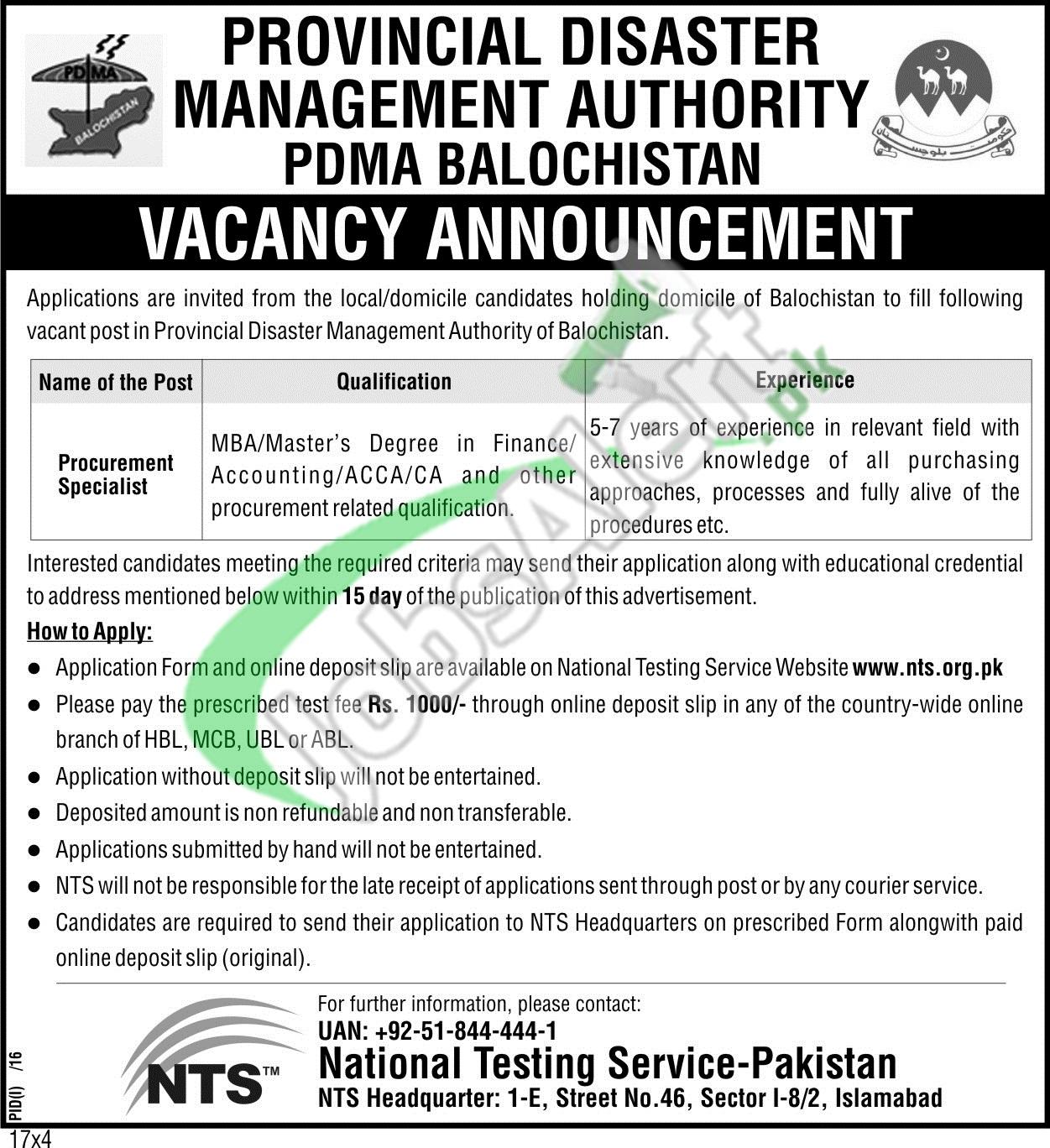 PDMA Balochistan Jobs