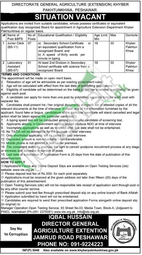 Agriculture Extension Department KPK Jobs