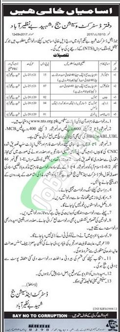 Session Court Shaheed Benazirabad Jobs