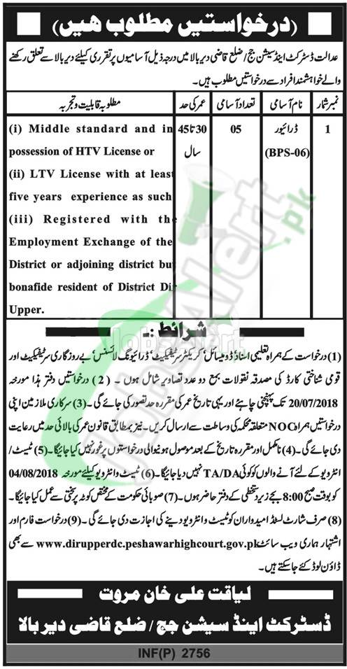 District and Session Court Dir Bala Jobs 2018