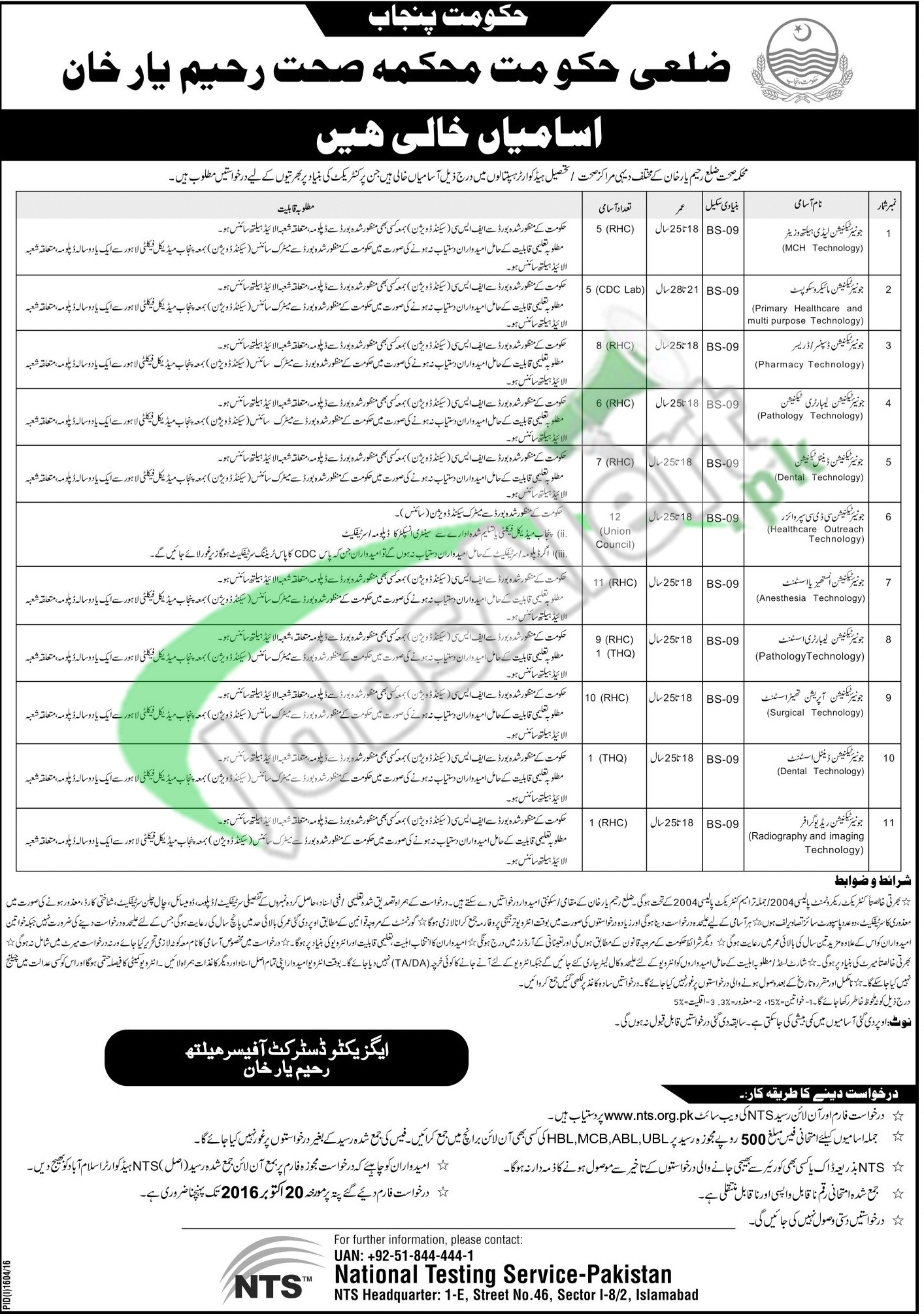 Health Department Rahim Yar Khan Jobs