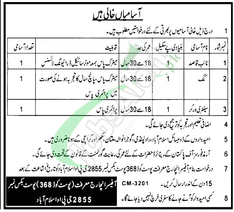 PO Box 2855 Islamabad Jobs
