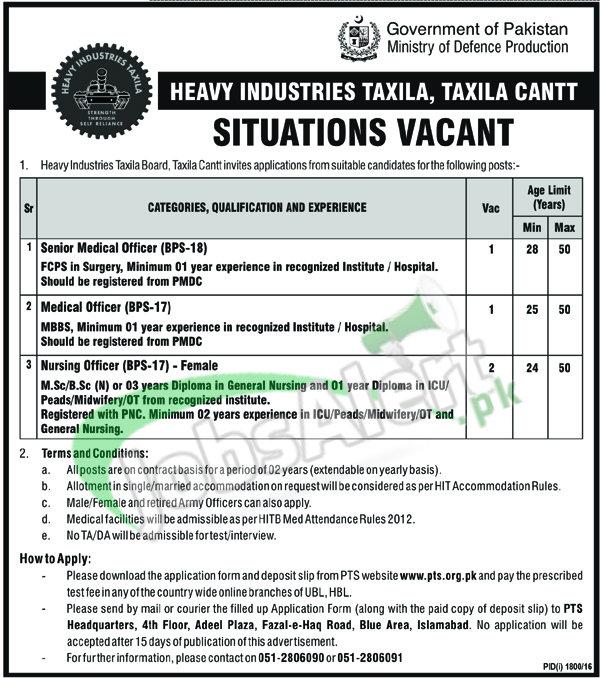 HIT Taxila Jobs