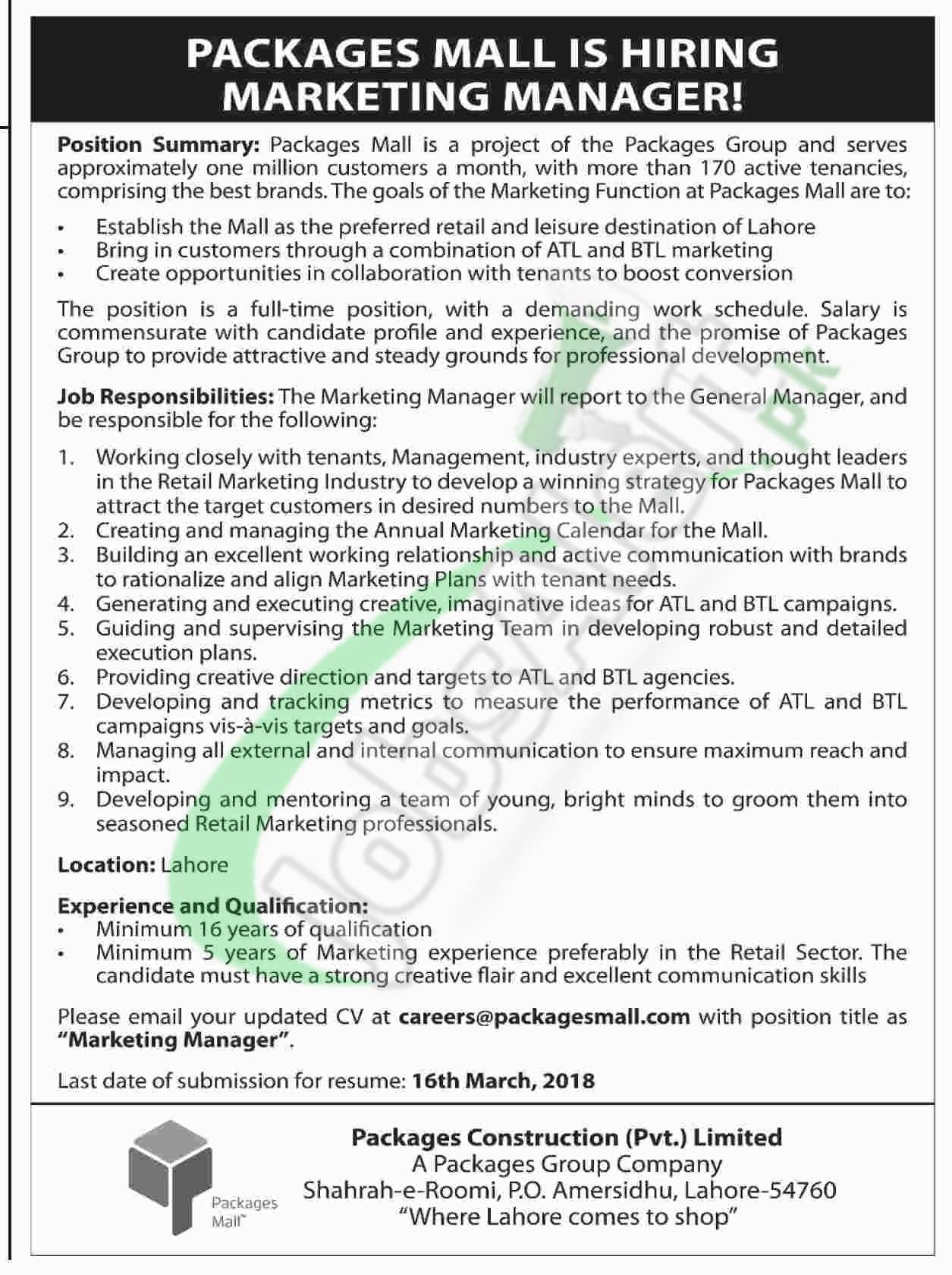 Packages Mall Lahore Jobs