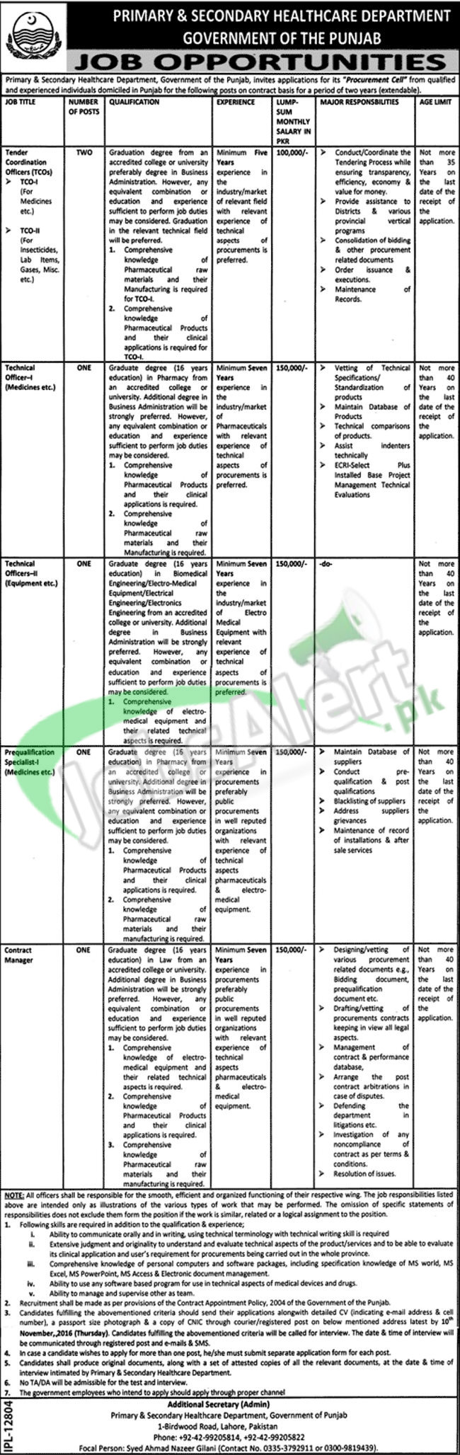 Primary & Secondary Healthcare Dpt