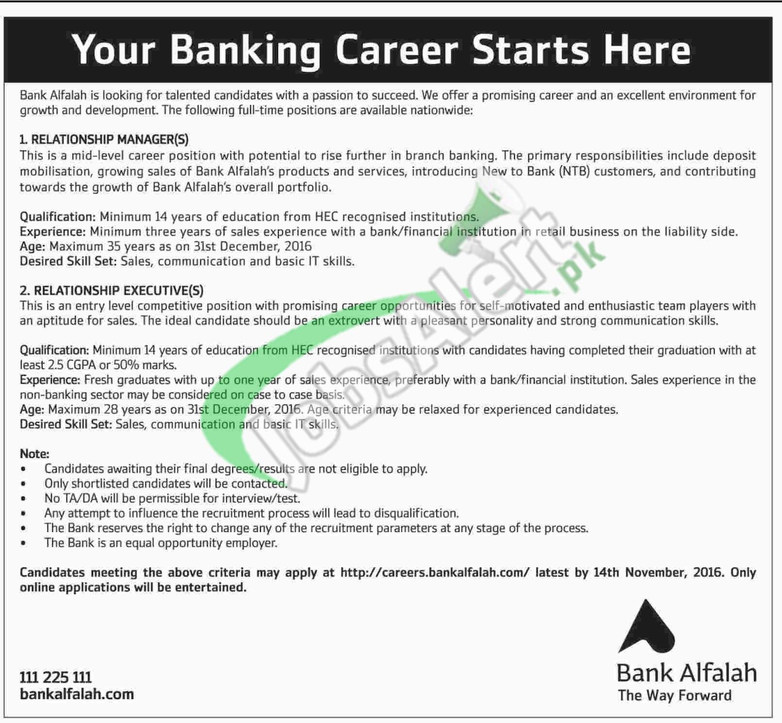 bank alfalah jobs 2016 apply career bankalfalah com click here
