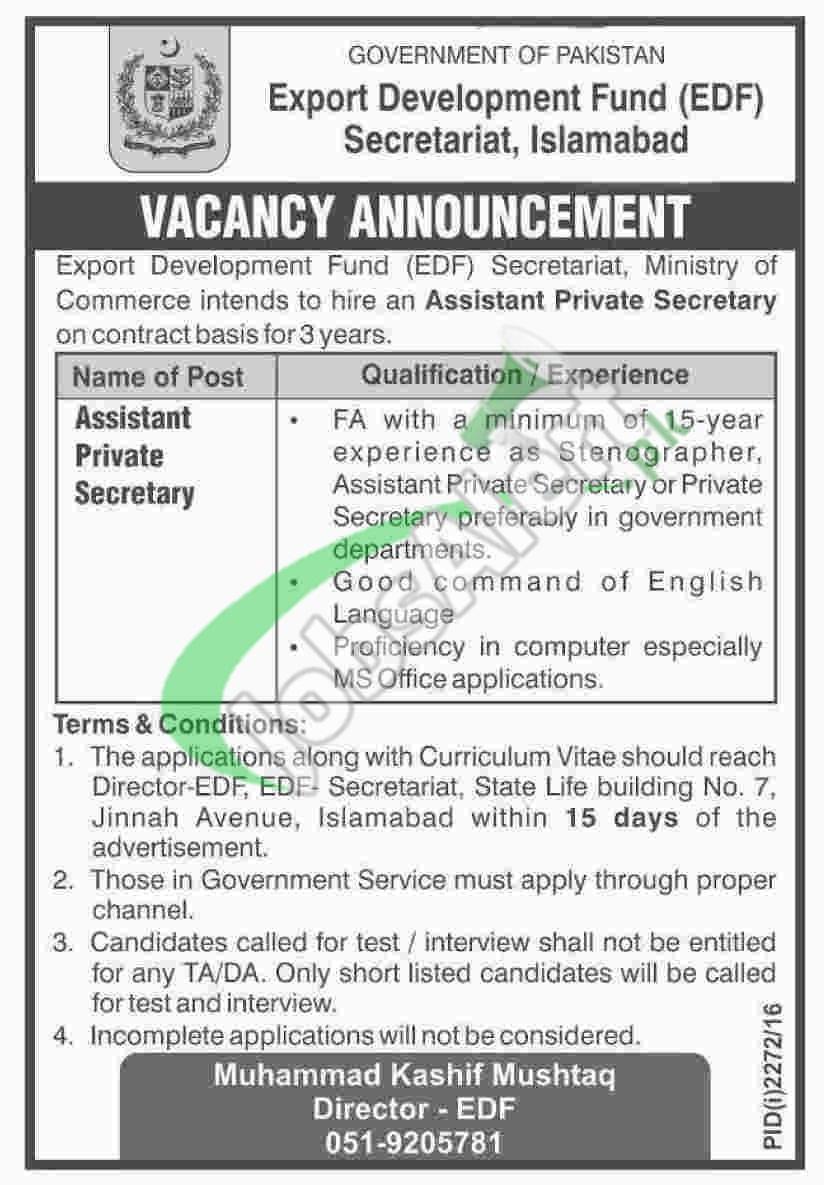 EDF Secretariat Jobs