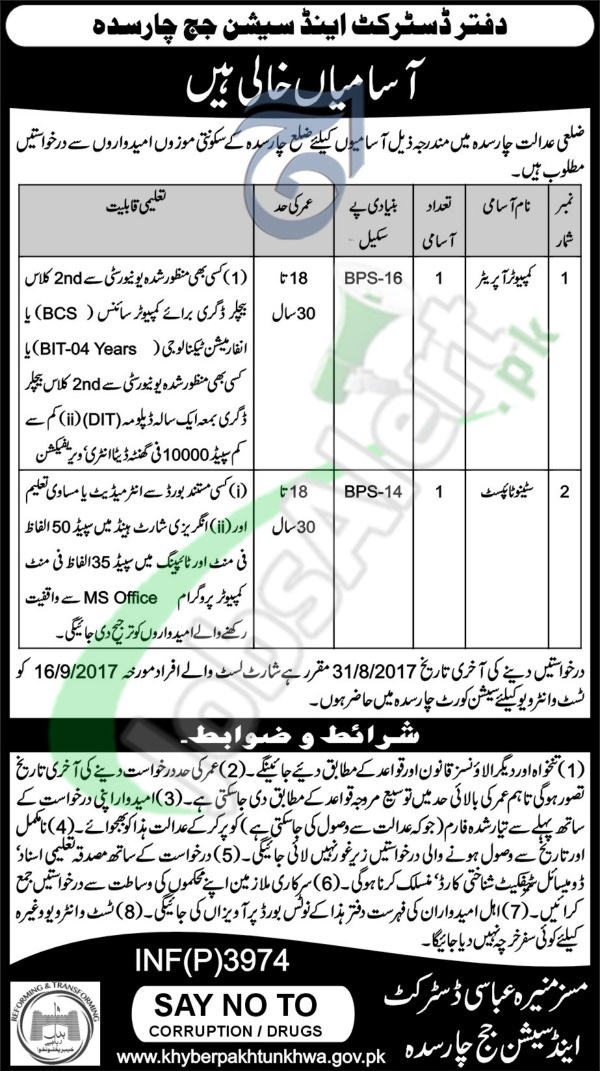 District and Session Court Charsadda Jobs