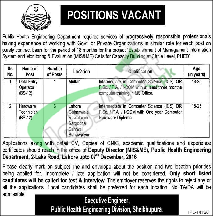Public Health Engineering Department Jobs