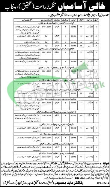 agriculture department punjab jobs 2017 application form