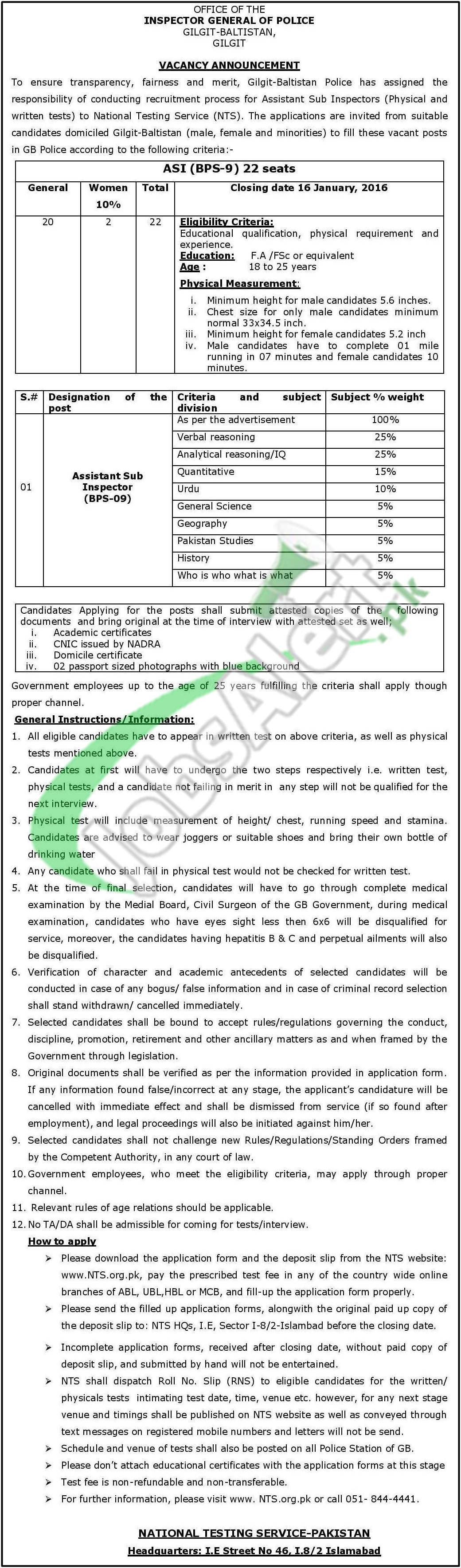 ASI Jobs in Gilgit Baltistan Police 2017 NTS Form Roll No