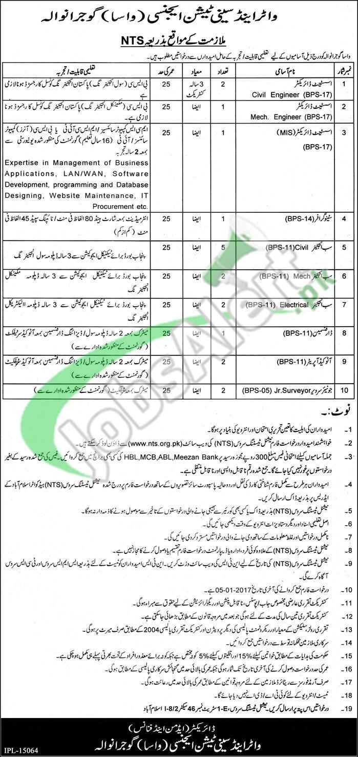 WASA Jobs in Gujranwala