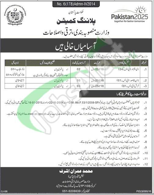 Planning Commission of Pakistan Jobs