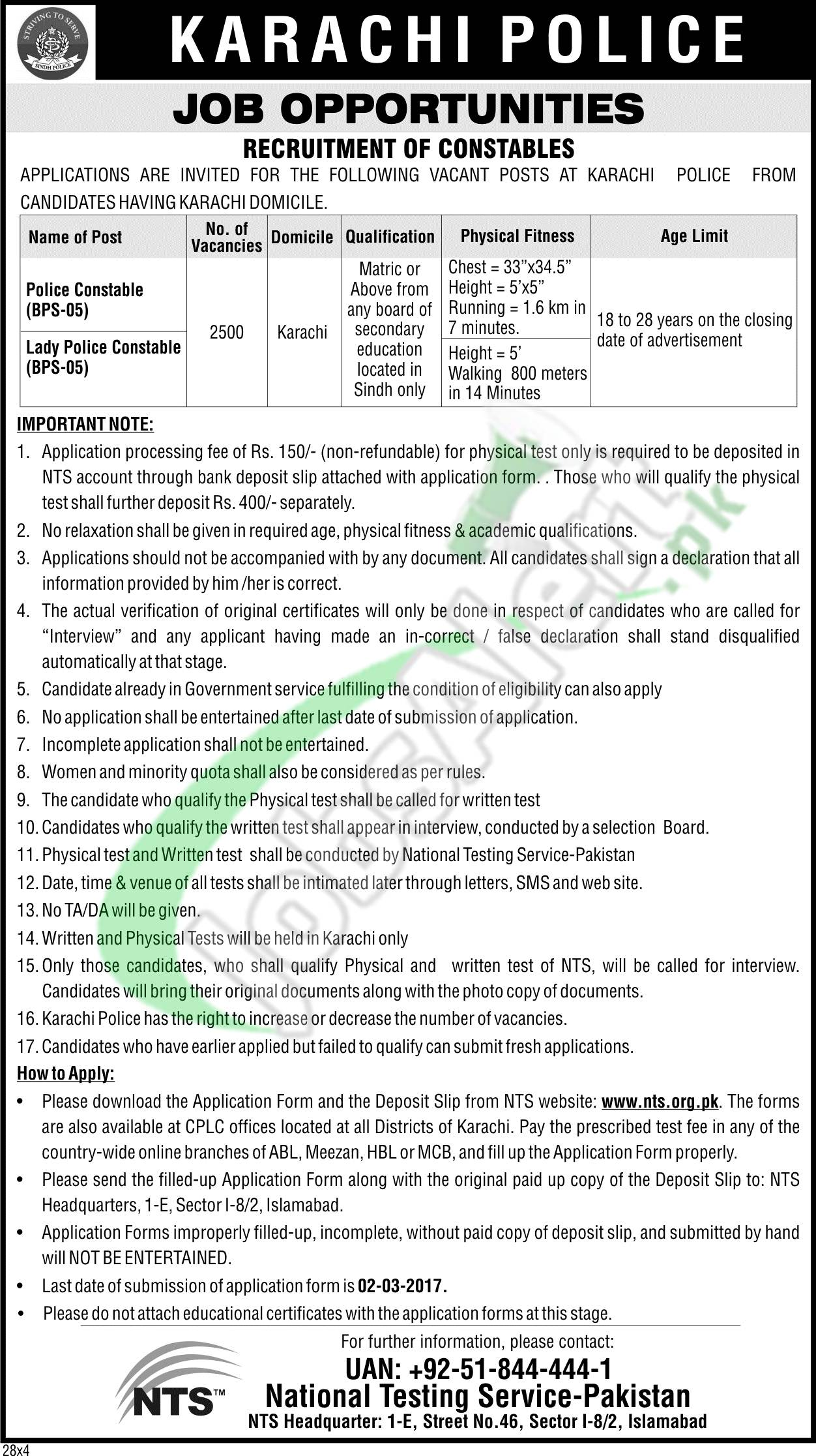 Sindh Police Jobs 2017 Karachi Form Download Online Roll