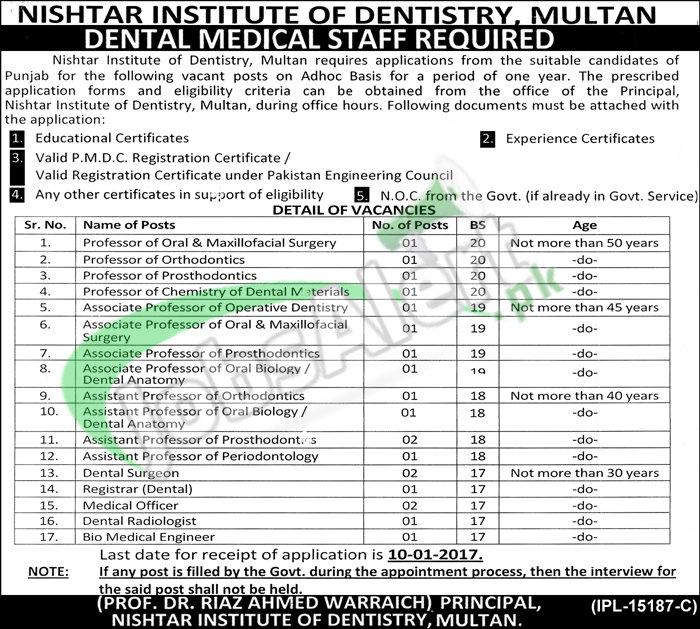 Nishtar Institute of Dentistry Multan